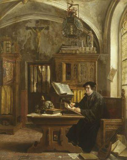 'Martín Lutero traduciendo la Biblia en el castillo de Wartburg en 1521' (1989), de Eugène Siberdt.