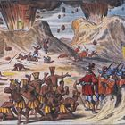 MEXICO - NOVEMBER 19:  Cortes Pass: Meeting between the tribes of Tlaxcala and the army of Hernan Cortes between the Popocatepetl and Iztaccihuatl Volcanos, Mexico 16th Century, engraving 17th Century. (Photo by DeAgostini/Getty Images)
