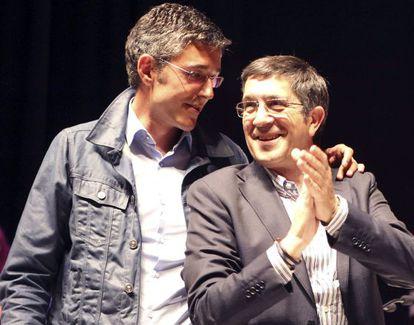 Eduardo Madina y Patxi López, en un mítin en la campaña de las elecciones europeas.