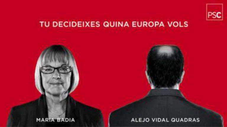 Cartel electoral del PSC, que muestra una imagen de su candidata, Maria Badia, junto a una figura humana de espaldas, que sugiere que es la del candidato popular.