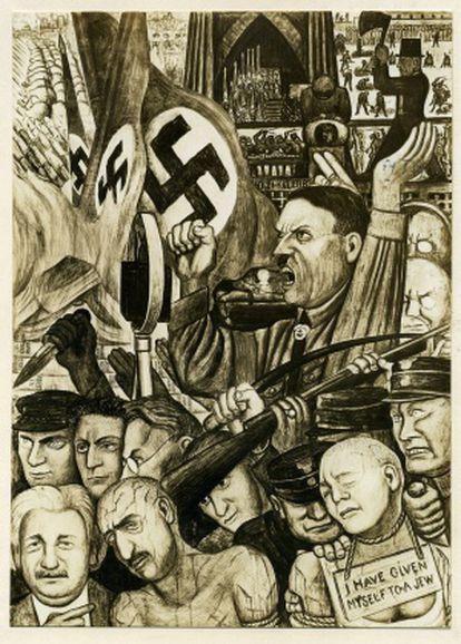 Imagen del mural de la New Worker's School en el que aparece Einstein (abajo a la izquierda).