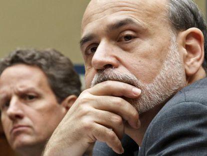 Bernanke y el secretario del Tesoro, Timothy Geithner, la semana pasada el Capitolio.