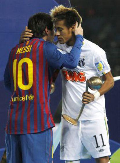 Messi y Neymar, en el Mundialito de clubes de 2011.