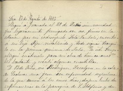 Notas del 12 de agosto de 1885 en el diario del médico granadino Federico Olóriz.