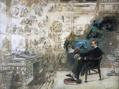 'Dickens' Dream', cuadro inacabado del pintor Robert W. Buss (1804-1875).