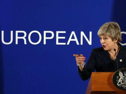 La primera ministra británica, Theresa May, en la Cumbre Europea el 22 de marzo de 2019