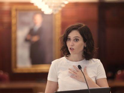 La presidenta de la Comunidad de Madrid, Isabel Díaz Ayuso, el pasado viernes en Villaviciosa de Odón (Madrid).