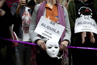 Manifestación contra los vientres de alquiler en en Madrid, en 2017.