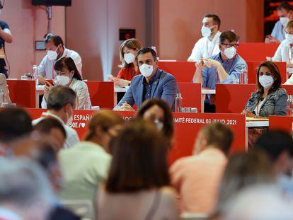 Pedro Sánchez durante la reunión del Comité Federal del PSOE, celebrado el 3 de julio en Madrid.