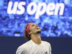 Alexander Zverev, of Germany, reacts after defeating Pablo Carreno Busta, of Spain, during a men's semifinal match of the US Open tennis championships, Friday, Sept. 11, 2020, in New York. (AP Photo/Seth Wenig)