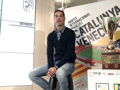 El técnico, Gerard López, en la presentación del amistoso ante Venezuela