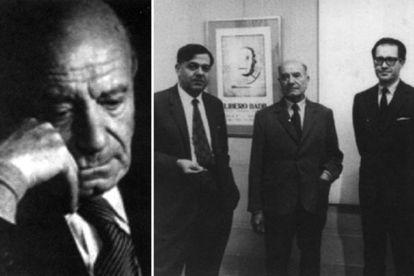 A la izquierda, Antonio Porchia. En la foto de la derecha (en el centro) en la galería Van Riel, en Buenos Aires, en 1965.