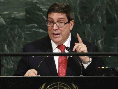 El canciller cubano Bruno Rodríguez dirigiéndose a la ONU