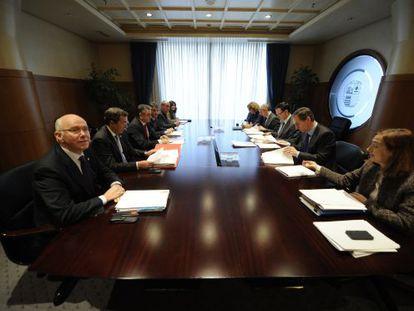 Los responsables de las haciendas forales y del Gobierno, en la última reunión del Órgano de Coordinación Tributaria.