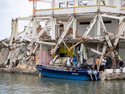 Una de las zonas golpeadas por el huracán Iota en Providencia.