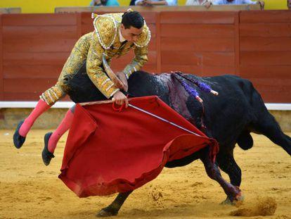 Momento de la cogida de Paco Ureña en Palencia.