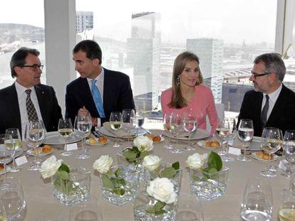 Artur Mas, Felipe VI, Doña Letizia y Marc Puig, en la inauguración de la sede corporativa de la firma Puig el pasado mes de abril.