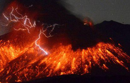 Erupción del volcán Sakurajima, en Japón.
