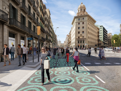 Imagen virtual de la reforma con urbanismo táctico en la calle de Pelai para ensanchar aceras.