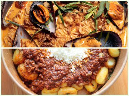 GoXO, el 'delivery' de Dabiz Muñoz: Noodles caldoxos con mejillones gallegos, coco, piparras y café (arriba) y gnocchis con boloñesa (abajo).
