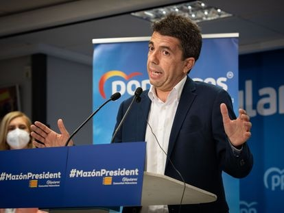 El presidente de la Diputación de Alicante y presidente provincial del PP, Carlos Mazón, el pasado viernes en Valencia.