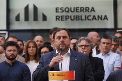 Oriol Junqueras, en la rueda de prensa que ofreció tras publicarse las grabaciones.