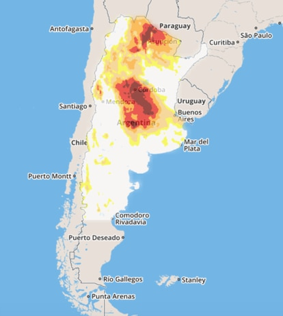 Imagen de la sequía registrada en los últimos seis meses en Argentina.