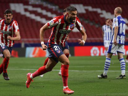 Carrasco celebra su gol ante la Real Sociedad este miércoles en el Wanda Metropolitano.