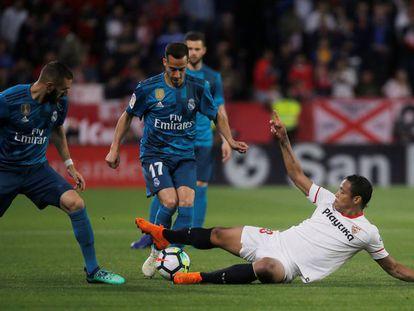 Lucas Vázquez durante el partido entre el Sevilla y el Real Madrid