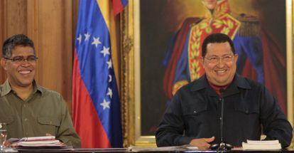 Chávez, ayer, en una rueda de prensa en Caracas.
