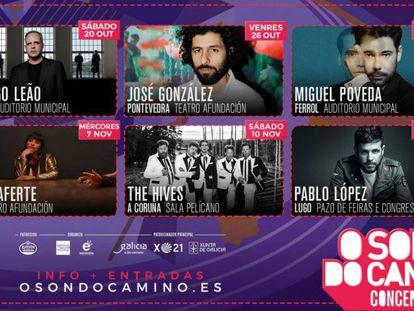 Cartel promocional de los conciertos de O Son do Camiño para este otoño.