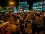 Vista general de la concentración en la Puerta del Sol contra las agresiones a las personas LGTBI, el pasado miércoles.