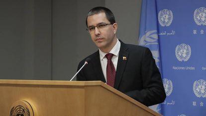Jorge Arreaza, en la ONU, en septiembre de 2018.