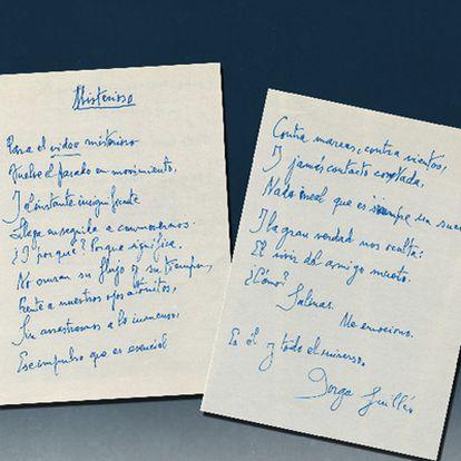Manuscrito original del poema <i>Misterioso, </i><b>de Jorge Guillén. Pedro Salinas (izquierda) y Luis Cernuda, en las películas rescatadas.</b>