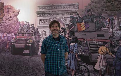 El dibujante con otra ilustración de la liberación de París