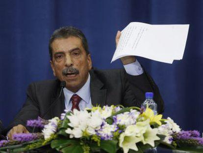 El jefe del comité, Tawfik Tirawi, hoy.
