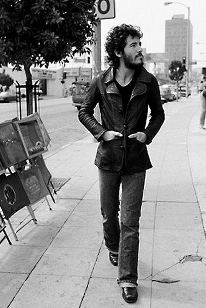 Bruce Springsteen, retratado a mitad de los setenta.
