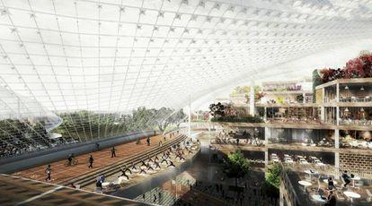 Recreación de la nueva sede que Google planea en California (EE UU).