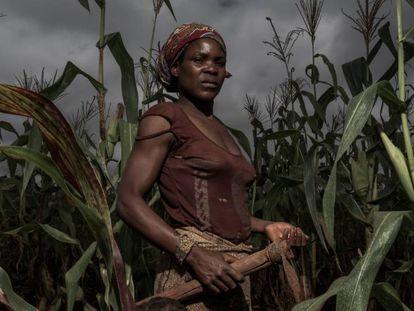Delinda, de 25 años, trabaja en la parcela de tierra de su familia en Lichinga, Mozambique, en marzo de 2017. Antes era empleada de Green Resources, pero dejó la empresa porque no le gustaba trabajar para ellos.