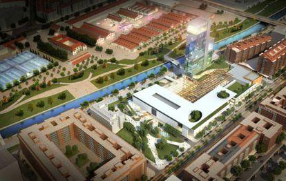 Simulación municipal de la torre de 27 plantas proyectada en Madrid Río.