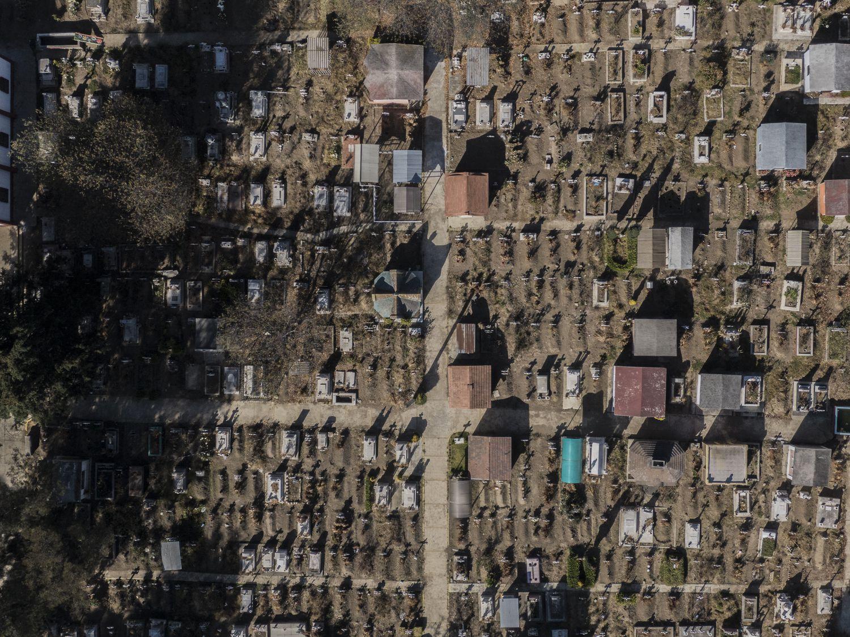Vista del panteón municipal de Santa Cruz Atizapán, Estado de México.