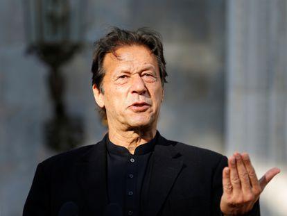 El primer ministro de Pakistán, Imran Khan, durante una rueda de prensa en Kabul en 2019.