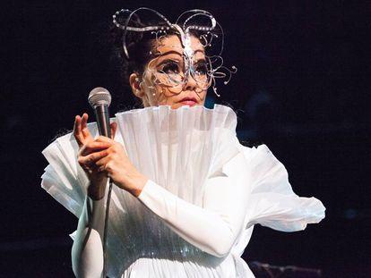La cantante Björk en directo durante su última gira