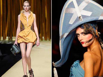 Propuestas de Louis Vuitton (arriba) y John Galliano en la pasarela de <i>prêt-à-porter.</i>