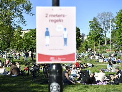 Varios grupos de ciudadanos al aire libre en el parque Tantolunden, en el centro de Estocolmo, el 30 de mayo de 2020.
