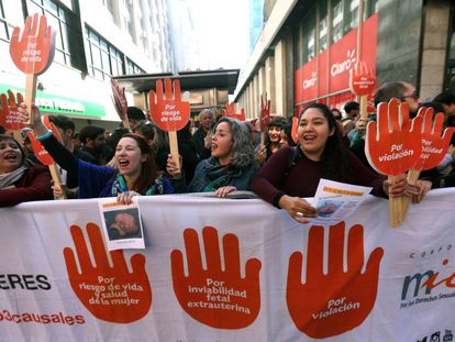 Manifestación por el derecho al aborto en Santiago de Chile en agosto.