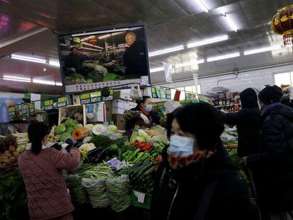 Mercado de verduras de Pekín, el viernes 15 de enero.