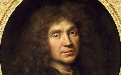 Retrato de Molière Jean-Baptiste Poquelin por Pierre Mignard en 1658.