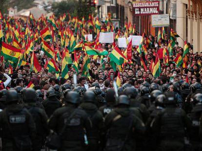Una protesta en La Paz (Bolivia) este jueves.