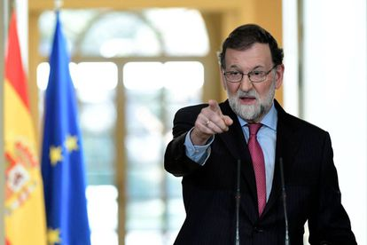 El presidente del Gobierno, Mariano Rajoy, durante su última conferencia de prensa en 2017.